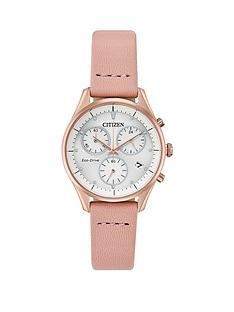 citizen-eco-drive-white-and-rose-gold-detail-chronograph-dial-pink-leather-strap-ladies-watch