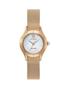 citizen-eco-drive-mother-of-pearl-dial-rose-gold-stainless-steel-mesh-strap-ladies-watch
