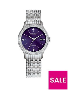 citizen-citizen-eco-drive-blue-and-swarovski-set-dial-stainless-steel-bracelet-ladies-watch