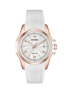 prod1089584267: Citizen Eco-Drive White and Rose Gold Date Dial White Silicone Strap Ladies Watch