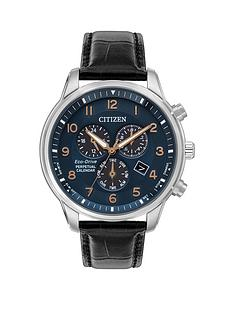 prod1089584268: Citizen Blue and Rose Detail Chronograph Dial Black Leather Strap Mens Watch