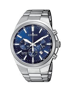prod1089584263: Citizen Blue Chronograph Dial Stainless Steel Bracelet Mens Watch