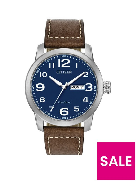 citizen-blue-daydate-dial-brown-leather-strap-mens-watch