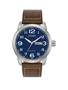 prod1089584262: Citizen Blue DayDate Dial Brown Leather Strap Mens Watch