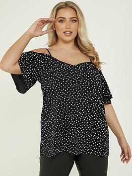 quiz-curve-polka-dot-cold-shoulder-top-blackwhite