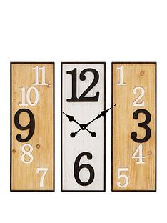 large-3-panel-metal-wooden-wall-clock