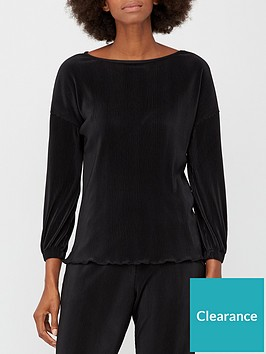 v-by-very-plisse-long-sleeve-co-ord-top-black