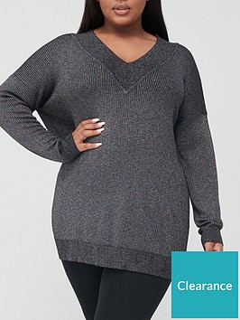 v-by-very-curve-v-neck-lurex-knitted-tunic-jumper-black