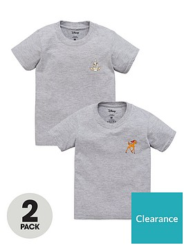 bambi-girls-disney-bambi-and-thumper-2-pack-motif-t-shirts-grey