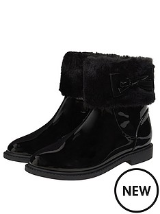 monsoon-girls-patent-faux-fur-bow-boots-black