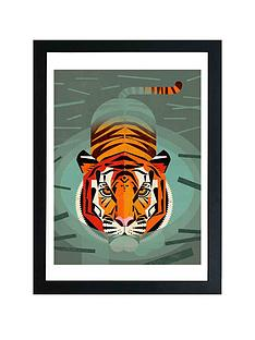 prod1089724595: Swimming Tiger by Dieter Braun A3 Framed Wall Art
