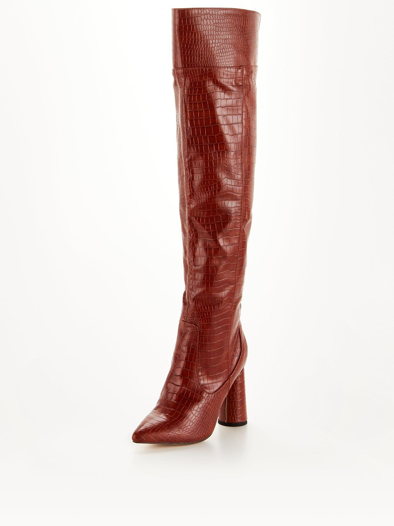 Details about  /Women Mixed Material Over The Knee Pointed Toe Boot Wraparound Straps Inner Zip
