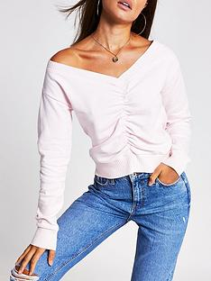 river-island-ruched-front-sweater-light-pink