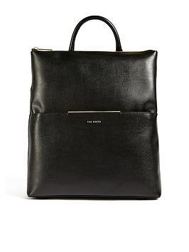ted-baker-saffiano-bar-detail-backpack-black