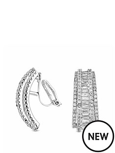 jon-richard-silver-plated-cubic-zirconia-statement-half-hoop-clip-on-earrings