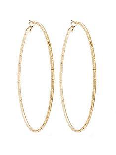 mood-gold-plated-extra-large-diamond-cut-hoop-earrings