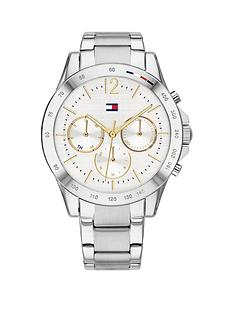 prod1089674329: tommy hilfiger silver multi dial stainless steel bracelet watch