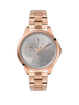 hugo-fearless-grey-multi-dial-rose-tone-bracelet-watch