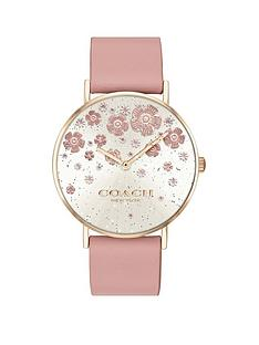 prod1089643723: Coach Perry Silver Dial Floral Detail Pink Leather Strap Watch