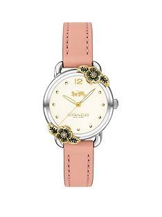 prod1089643727: Coach Delancey White Flower Bezel Pink Leather Strap Watch