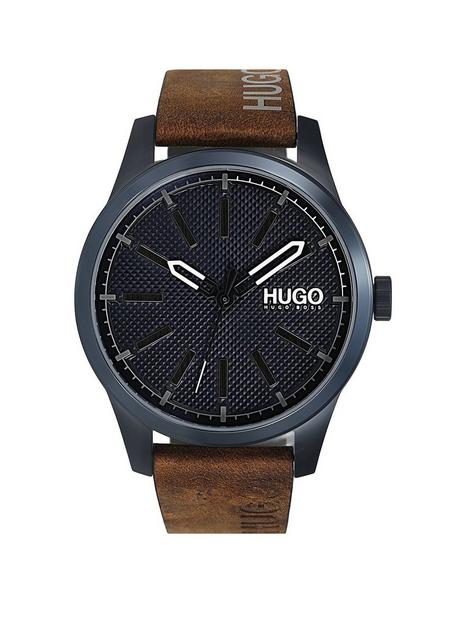 hugo-hugo-invent-blue-dial-tan-leather-strap-watch