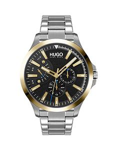 hugo-leap-black-multi-dial-gold-tone-bezel-stainless-steel-bracelet-watch
