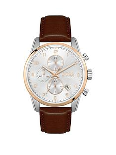 boss-skymaster-white-chronograph-dial-brown-leather-strap-mens-watch