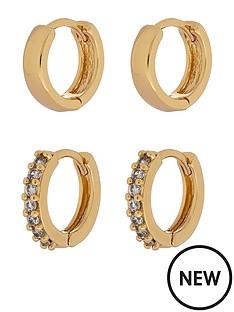 accessorize-z-2x-sparkle-and-plain-hoop-set-gold