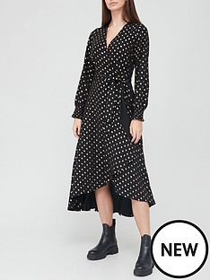 v-by-very-flocked-wrap-midi-dress-black