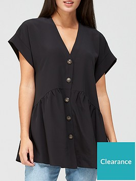 v-by-very-short-sleeve-longline-button-through-tunic-black