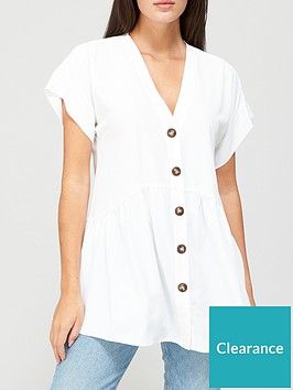 v-by-very-short-sleeve-longline-button-through-tunic-white