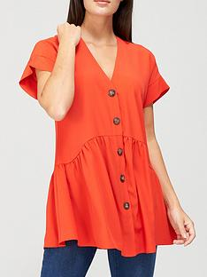 v-by-very-short-sleeve-longline-button-through-tunic-red