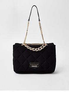 river-island-chain-detail-quilted-soft-shoulder-bag-black