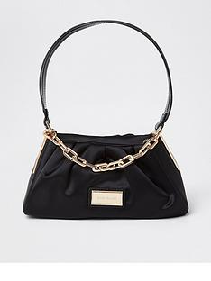 river-island-satin-rouched-chain-detail-underarm-bag-black