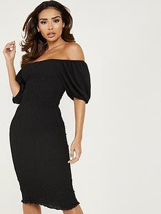 quiz-quiz-black-ruched-shearing-puff-sleeve-midi-dress