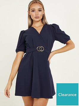 quiz-quiz-navy-belted-puff-sleeve-wrap-front-skater-dress
