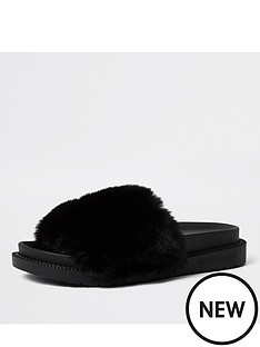 river-island-faux-fur-slider-slipper-black
