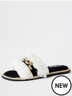 river-island-hardware-detail-open-toe-slipper-cream-black