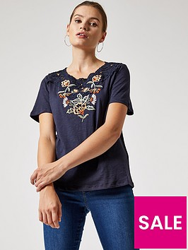 dorothy-perkins-embroidered-lace-insert-t-shirtnbsp--navy