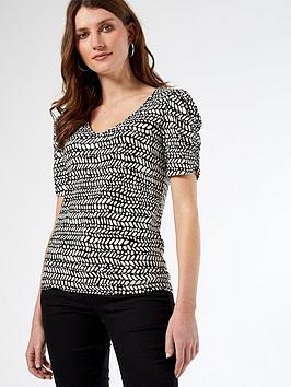 dorothy-perkins-animal-ruched-sleeve-t-shirt-black