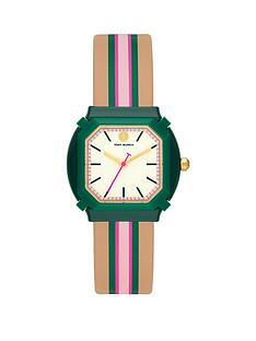 tory-burch-tory-burch-the-blake-white-dial-brown-green-pink-stripe-leather-strap-watch