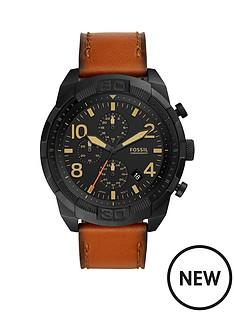 fossil-fossil-bronson-black-multi-dial-tan-strap-watch