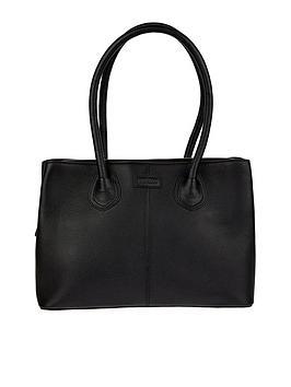 monsoon-zip-top-leather-tote-black