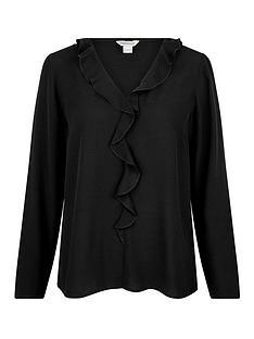 monsoon-ruffle-sustainable-long-sleeve-top-black