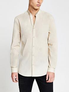 river-island-long-sleeved-muscle-fit-shirt-stone