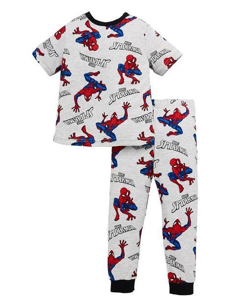 spiderman-boys-spiderman-all-over-print-short-sleeve-pjs-grey