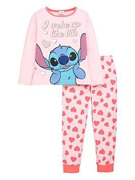 lilo-stitch-girlsnbspwoke-up-like-this-pjs-pink