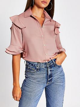 river-island-frill-front-shirt-dusty-pink