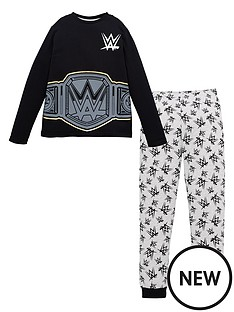 wwe-boys-wwe-mock-belt-long-sleeve-pjs-black