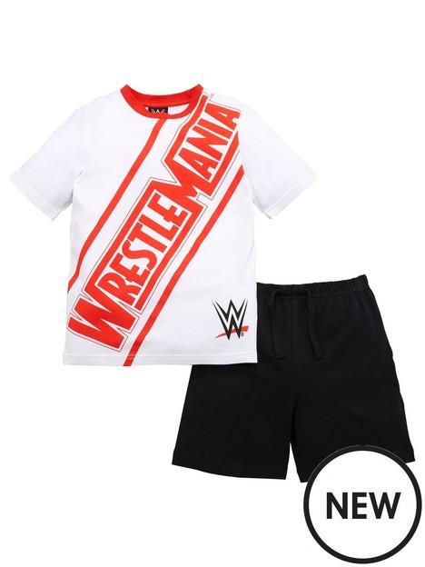 wwe-boys-wwe-wrestlemania-shorty-pjs-whiteblack